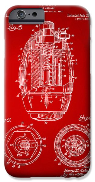 World War 1 iPhone Cases - 1919 Hand Grenade Patent Artwork - Red iPhone Case by Nikki Marie Smith
