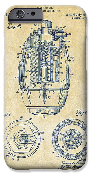 World War 1 iPhone Cases - 1919 Hand Grenade Patent Artwork - Vintage iPhone Case by Nikki Marie Smith