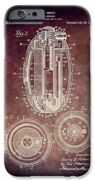 Weapon Mixed Media iPhone Cases - 1919 Hand Grenade Patent iPhone Case by Dan Sproul