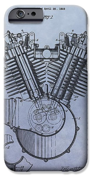 Technology Drawings iPhone Cases - 1919 Harley Davidson Engine Patent iPhone Case by Dan Sproul