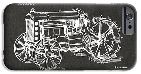 Negro iPhone Cases - 1919 Henry Ford Tractor Patent Gray iPhone Case by Nikki Marie Smith