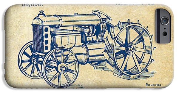 Lines Art iPhone Cases - 1919 Henry Ford Tractor Patent Vintage iPhone Case by Nikki Marie Smith