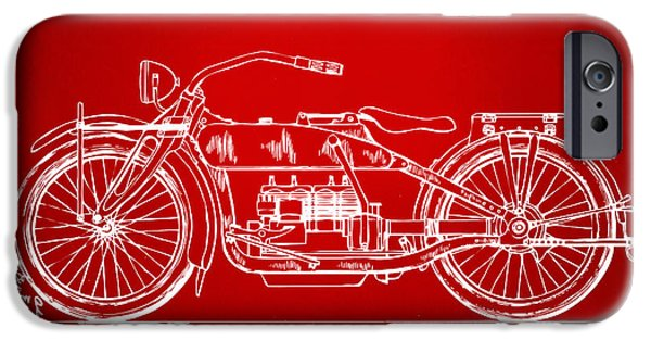 Concept Digital Art iPhone Cases - 1919 Motorcycle Patent Red iPhone Case by Nikki Marie Smith
