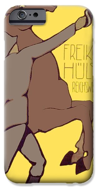 World War One Digital Art iPhone Cases - 1920 - Friekorps Hulsen Recruiting Poster - Lugwig Hohlwein - Color iPhone Case by John Madison