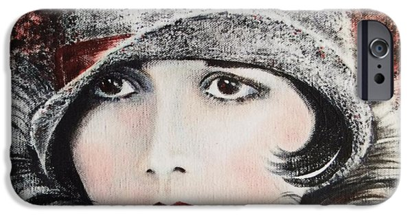 Liberation Paintings iPhone Cases - Louise Brooks iPhone Case by Barbara Chase