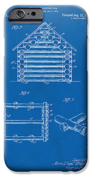 Log Cabin Digital iPhone Cases - 1920 Lincoln Log Cabin Patent Artwork - Blueprint iPhone Case by Nikki Marie Smith