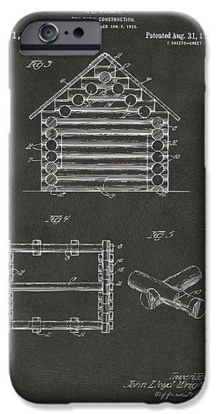 Lincoln Digital Art iPhone Cases - 1920 Lincoln Log Cabin Patent Artwork - Gray iPhone Case by Nikki Marie Smith