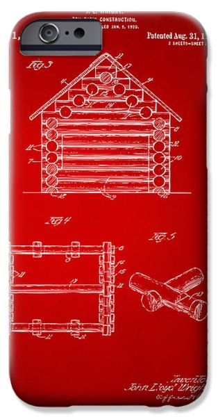 Log Cabin Digital iPhone Cases - 1920 Lincoln Log Cabin Patent Artwork - Red iPhone Case by Nikki Marie Smith