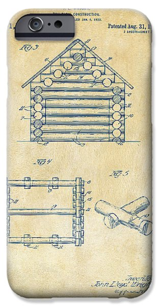 Log Cabin Digital iPhone Cases - 1920 Lincoln Log Cabin Patent Artwork - Vintage iPhone Case by Nikki Marie Smith
