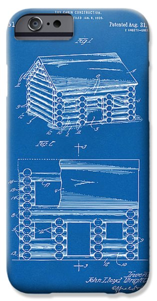 Log Cabin Digital iPhone Cases - 1920 Lincoln Logs Patent Artwork - Blueprint iPhone Case by Nikki Marie Smith