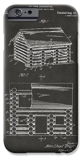 Lincoln Digital Art iPhone Cases - 1920 Lincoln Logs Patent Artwork - Gray iPhone Case by Nikki Marie Smith
