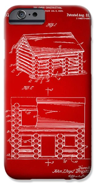 Log Cabin Digital iPhone Cases - 1920 Lincoln Logs Patent Artwork - Red iPhone Case by Nikki Marie Smith