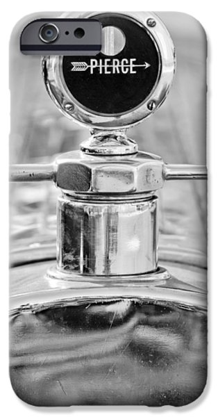 1920 iPhone Cases - 1920 Pierce-Arrow Model 48 Coupe Hood Ornament - Motometer iPhone Case by Jill Reger