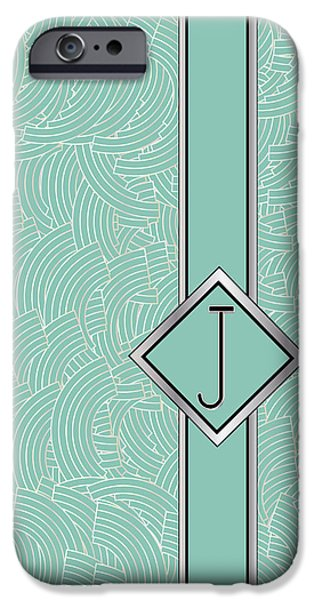 Shower Head iPhone Cases - 1920s Blue Deco Jazz Swing Monogram ...letter J iPhone Case by Cecely Bloom