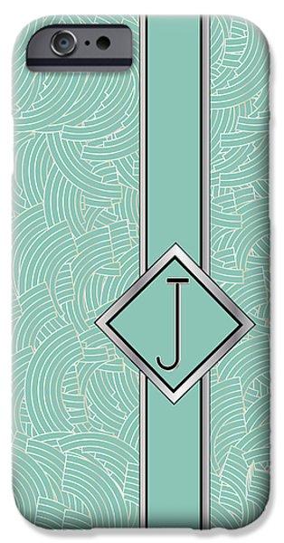 Shower Head Digital Art iPhone Cases - 1920s Blue Deco Jazz Swing Monogram ...letter J iPhone Case by Cecely Bloom