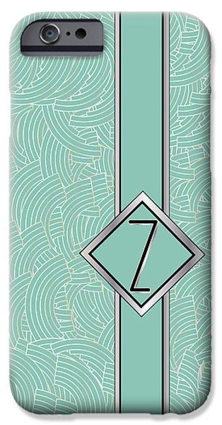 Shower Head Digital Art iPhone Cases - 1920s Blue Deco Jazz Swing Monogram ...letter Z iPhone Case by Cecely Bloom