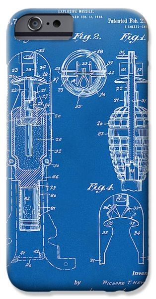1921 Explosive Missle Patent Blueprint iPhone Case by Nikki Marie Smith
