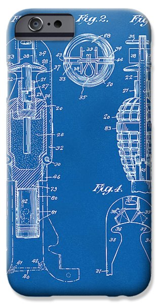 1921 Explosive Missle Patent Minimal Blueprint iPhone Case by Nikki Marie Smith