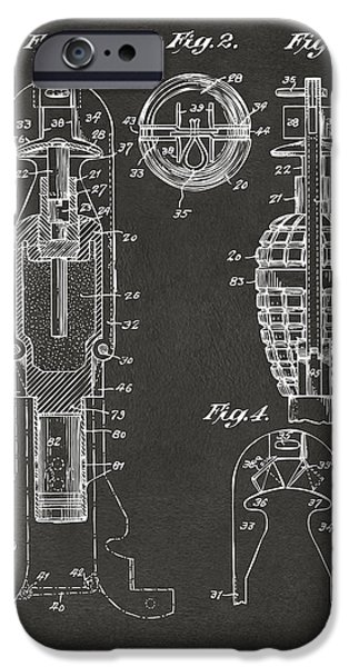 1921 Explosive Missle Patent Minimal Gray iPhone Case by Nikki Marie Smith
