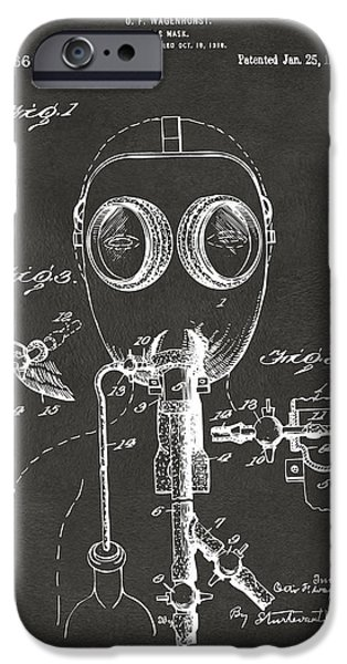 Weird iPhone Cases - 1921 Gas Mask Patent Artwork - Gray iPhone Case by Nikki Marie Smith