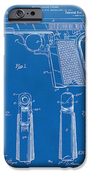 Weapon iPhone Cases - 1921 Searle Pistol Patent Artwork - Blueprint iPhone Case by Nikki Marie Smith