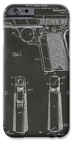 Weapon iPhone Cases - 1921 Searle Pistol Patent Artwork - Gray iPhone Case by Nikki Marie Smith