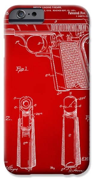 Weapon iPhone Cases - 1921 Searle Pistol Patent Artwork - Red iPhone Case by Nikki Marie Smith