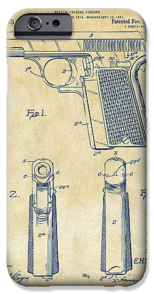 Weapon iPhone Cases - 1921 Searle Pistol Patent Artwork - Vintage iPhone Case by Nikki Marie Smith