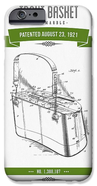 Basket Mixed Media iPhone Cases - 1921 Trout Basket Patent Drawing - Green iPhone Case by Aged Pixel