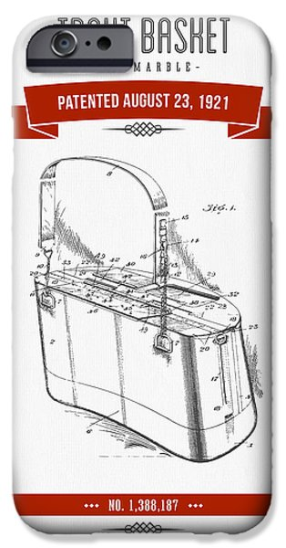 Basket Mixed Media iPhone Cases - 1921 Trout Basket Patent Drawing - red iPhone Case by Aged Pixel