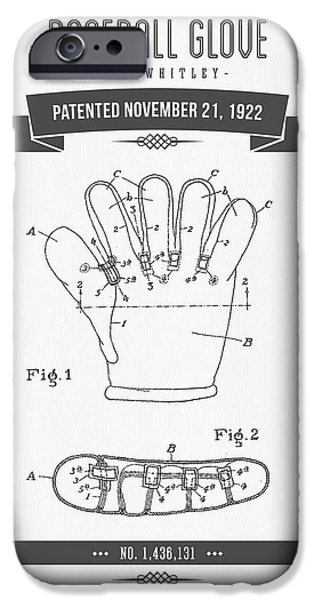 Baseball Glove iPhone Cases - 1922 Baseball Glove Patent Drawing iPhone Case by Aged Pixel