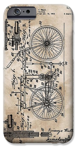 Gear Mixed Media iPhone Cases - 1922 Bicycle Patent iPhone Case by Dan Sproul