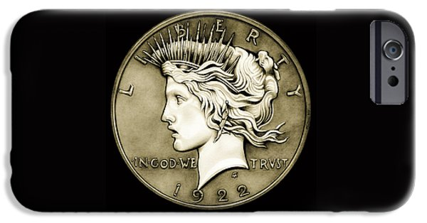 Coins Drawings iPhone Cases - 1922 Circulated Peace Dollar iPhone Case by Fred Larucci