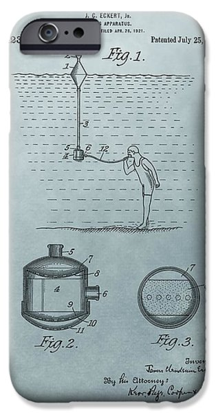 Gear Mixed Media iPhone Cases - 1922 Diving Apparatus Patent Illustration iPhone Case by Dan Sproul