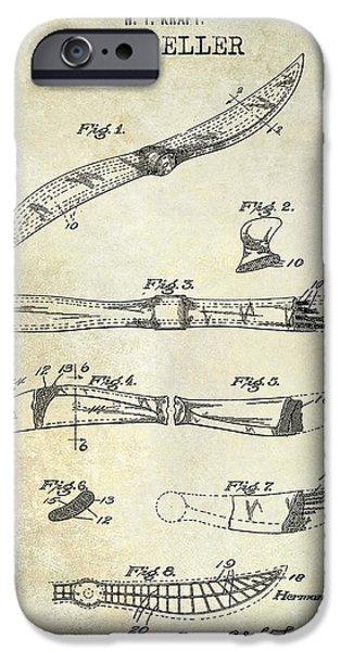 Aeronautical iPhone Cases - 1922 Propeller Patent Drawing iPhone Case by Jon Neidert