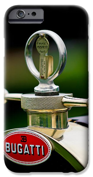 Bugatti Vintage Car iPhone Cases - 1923 Bugatti Type 23 Brescia Lavocat et Marsaud Hood Ornament iPhone Case by Jill Reger