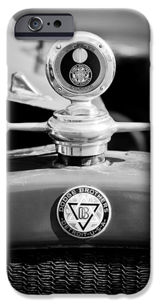 Motometer iPhone Cases - 1923 Dodge Brothers MotoMeter - Hood Ornament - Emblem iPhone Case by Jill Reger