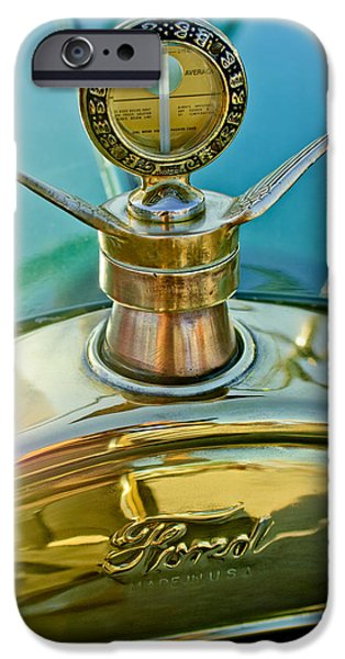 Motometer iPhone Cases - 1923 Ford Model T Hood Ornament iPhone Case by Jill Reger