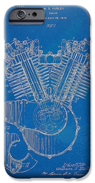 Sectioned iPhone Cases - 1923 Harley Davidson Engine Patent Artwork - Blueprint iPhone Case by Nikki Smith