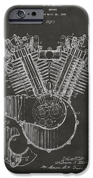 Us Open Drawings iPhone Cases - 1923 Harley Engine Patent Art - Gray iPhone Case by Nikki Marie Smith
