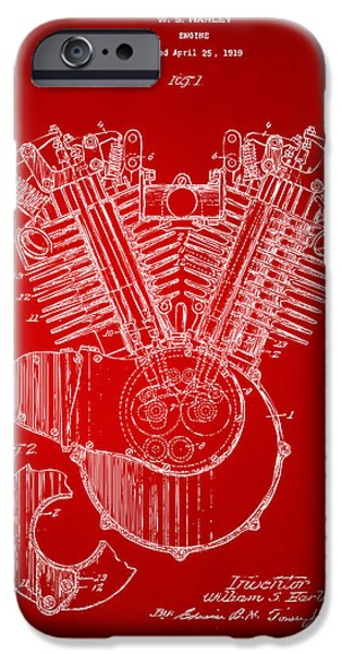 Concept Digital Art iPhone Cases - 1923 Harley Engine Patent Art Red iPhone Case by Nikki Marie Smith