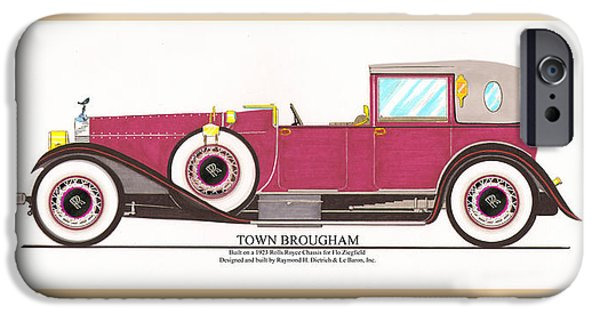 Fame Drawings iPhone Cases - 1923 Rolls Royce by Raymond H Dietrich iPhone Case by Jack Pumphrey