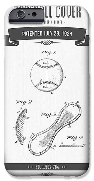 Baseball Glove iPhone Cases - 1924 Baseball Cover Patent Drawing iPhone Case by Aged Pixel