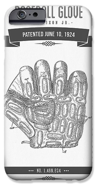 Baseball Glove iPhone Cases - 1924 Baseball Glove Patent Drawing iPhone Case by Aged Pixel