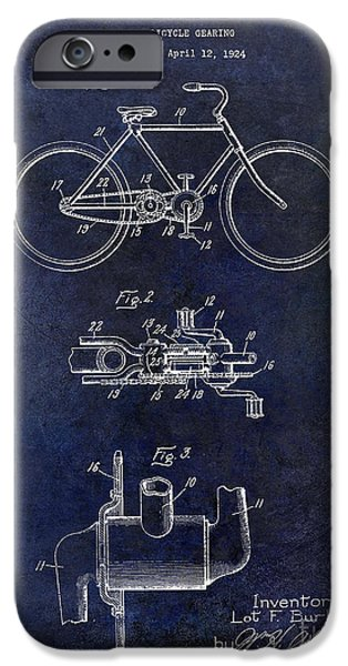 Vintage Bicycle iPhone Cases - 1924 Bicycle Patent Drawing Blue iPhone Case by Jon Neidert
