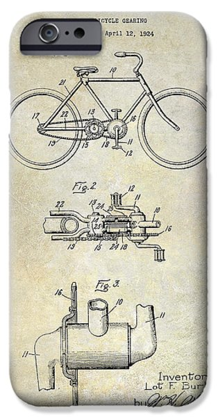 Vintage Bicycle iPhone Cases - 1924 Bicycle Patent Drawing iPhone Case by Jon Neidert
