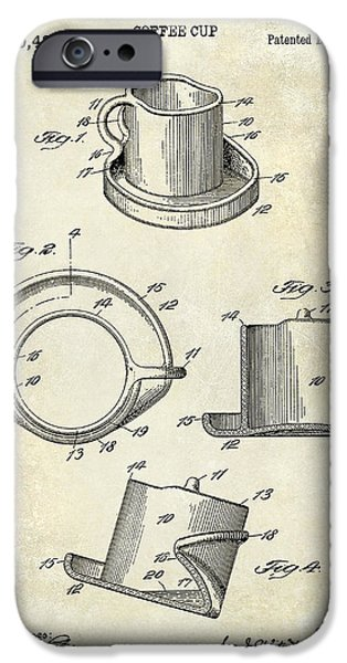 1900 iPhone Cases - 1924 Coffee Cup Patent Drawing iPhone Case by Jon Neidert