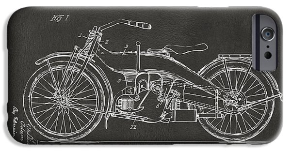 Blueprint iPhone Cases - 1924 Harley Motorcycle Patent Artwork - Gray iPhone Case by Nikki Marie Smith