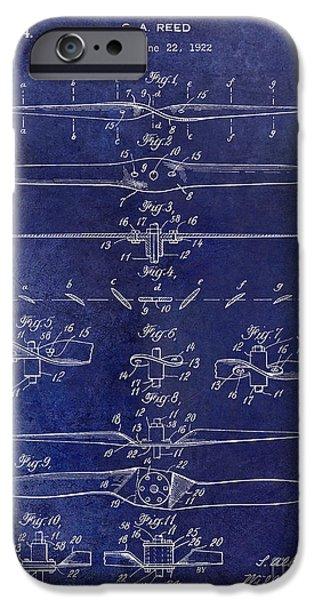 Aeronautical iPhone Cases - 1924 Propeller Patent Drawing Blue iPhone Case by Jon Neidert
