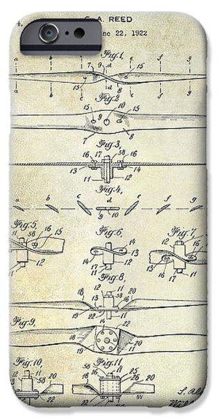 Aeronautical iPhone Cases - 1924 Propeller Patent Drawing iPhone Case by Jon Neidert